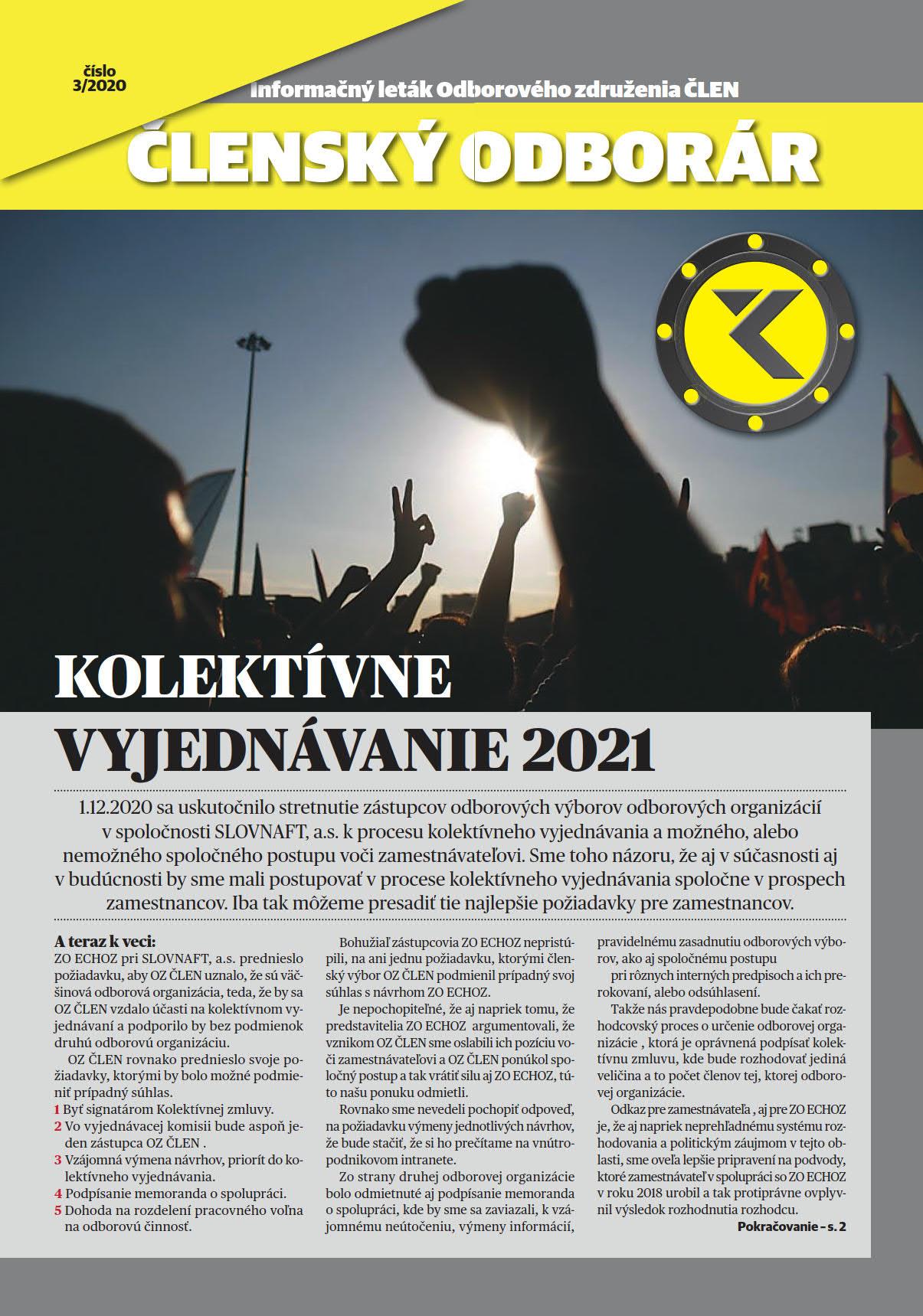 ČLENSKÝ ODBORÁR č.3 – Kolektívne vyjednávanie 2021.